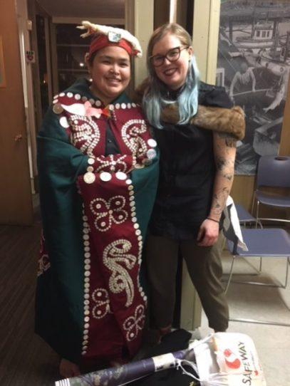 Karissa Glendale (kwakwa̱ka̱'wakw) and Julia McIntyre-Smith (Musgamagw Dzawada'enuxw)