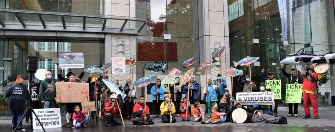 wild salmon rally outside the offices of the DFO