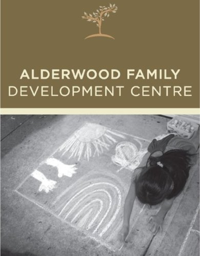 Alderwood Family Development Centre Child drawing with chalk on sidewalk-a rainbow, hands, and a sun