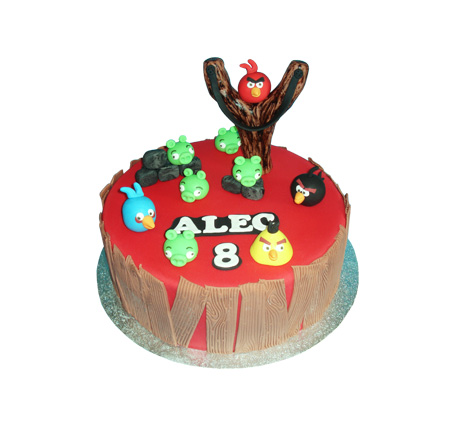 Angry Birds 3D taart (rood)