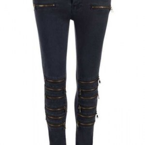 Relish off black biker ankle skinny jeans