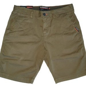 Superdry zacht slim fit chino short stretch twill katoen khaki army