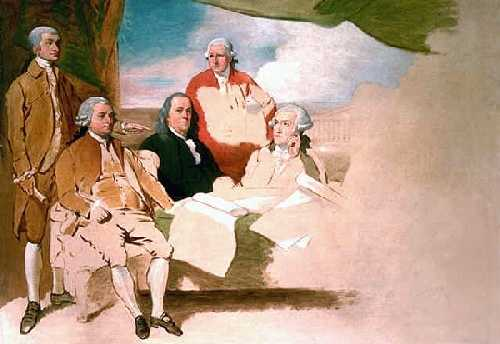 Ondertekening van de Vrede van Parijs in 1783 -  vlnr: John Jay, John Adams, Benjamin Franklin, Henry Laurens, and William Temple Franklin