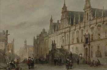 Het oude stadhuis van Leiden - Carel Jacobus Behr, 1860