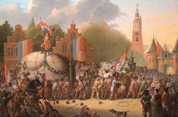 Anoniem schilderij over de verplaatsing van de kei (Erfgoedhuis Utrecht / Museum Flehite)