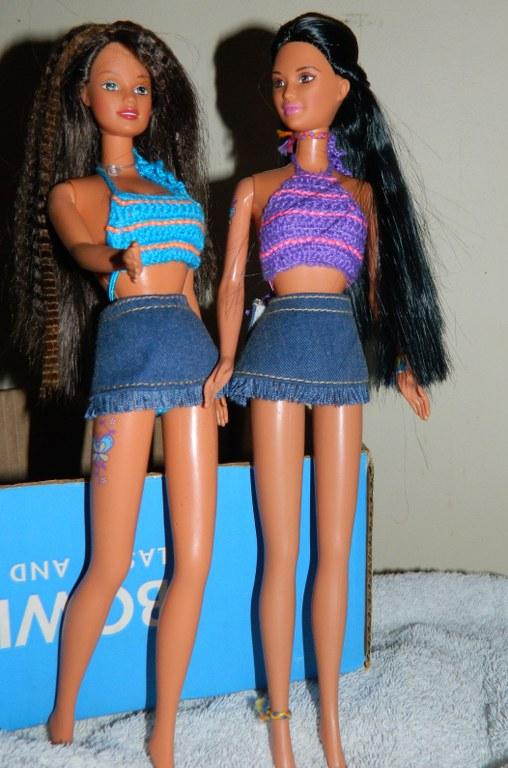 Butterfly Art Kira and Teresa in their denim skirts