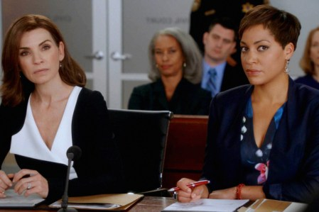 """""""Cooked"""" -- Alicia and Lucca work together on a complicated court case involving a designer drug dealer. Also, Eli encourages Alicia and Veronica (Stockard Channing) to participate in a mother/daughter cooking show to help Peter's campaign, with disastrous results, on THE GOOD WIFE, Sunday, Oct. 18 (9:30-10:30 PM, ET/9:00-10:00 PM, PT) on the CBS Television Network . Pictured Julianna Margulies as Alicia Florrick and Cush Jumbo as Lucca Quinn Photo: Best Possible Screen Grab/ CBS ©2015 CBS Broadcasting, Inc. All Rights Reserved"""