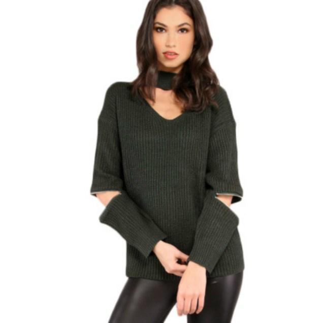 2017-Европа-и-США-Новая-мода-осень-зима-локоть-на-молнии-полые-свитер