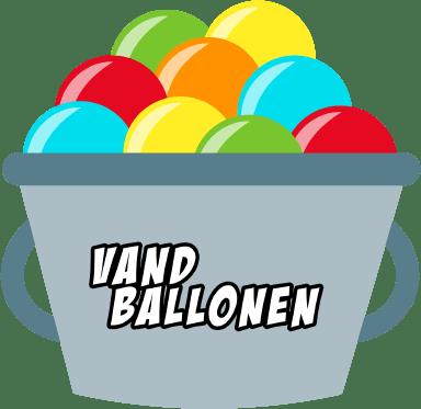 Spand med vandballoner