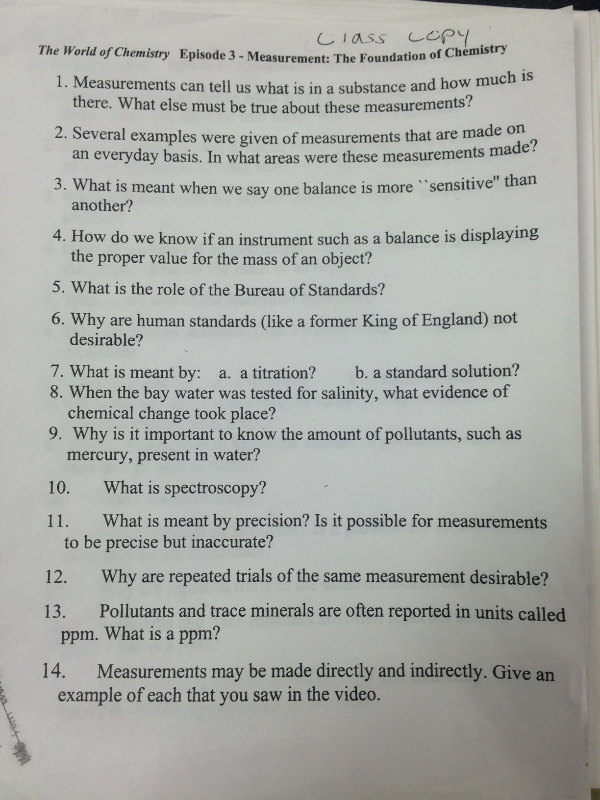 Chemistry Chapter 3 Scientific Measurement Worksheet Answers