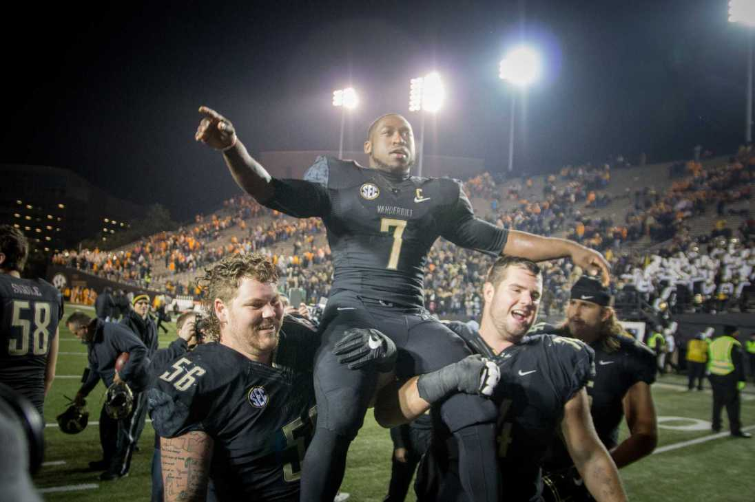 November 26th, 2016 – Ralph Webb (7) celebrates after the Commodores' 45-34 win against UT Saturday night in Vanderbilt Stadium.