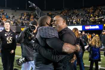 Ralph Webb (7) and Derek Mason as Vanderbilt beat #17 Tennessee 45-34 at Vanderbilt Stadium November 26, 2016.