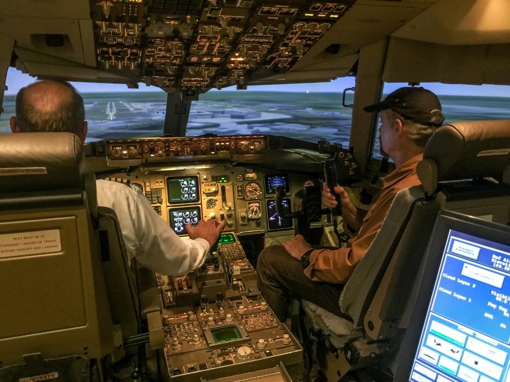 Filming in Delta 767 Flight Simulator