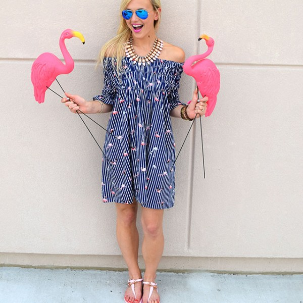 flamingo off shoulder dress
