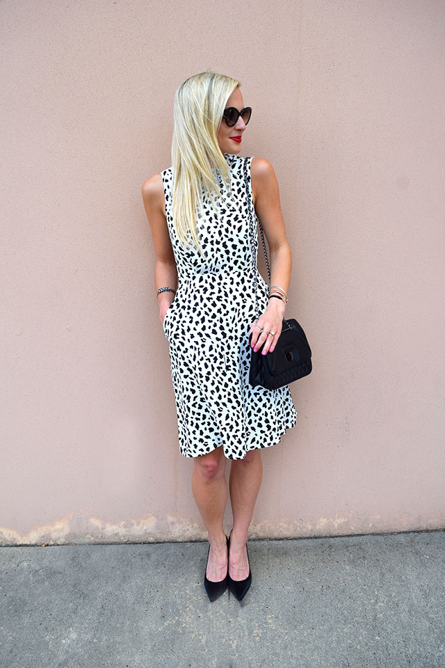 spotted black white dress