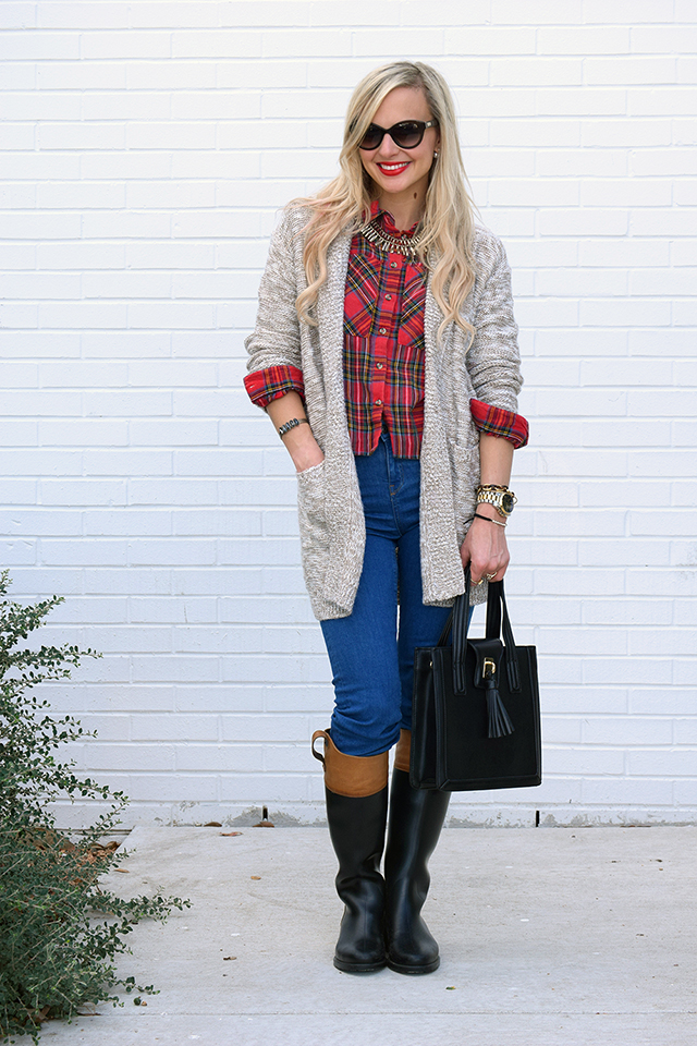 plaid knit layering
