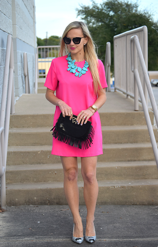 pink turquoise outfit