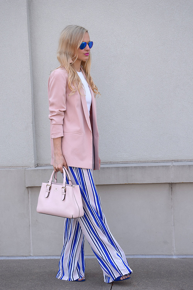 blue and pink striped pant