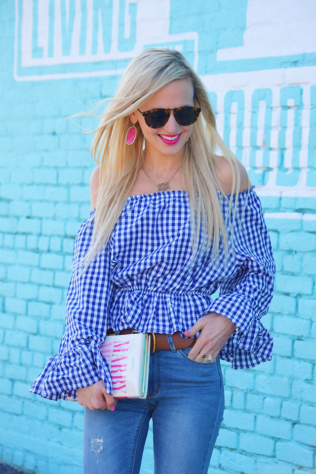 gingham ruffled shirt
