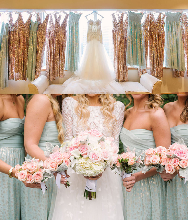 gold and blue bridesmaids dresses