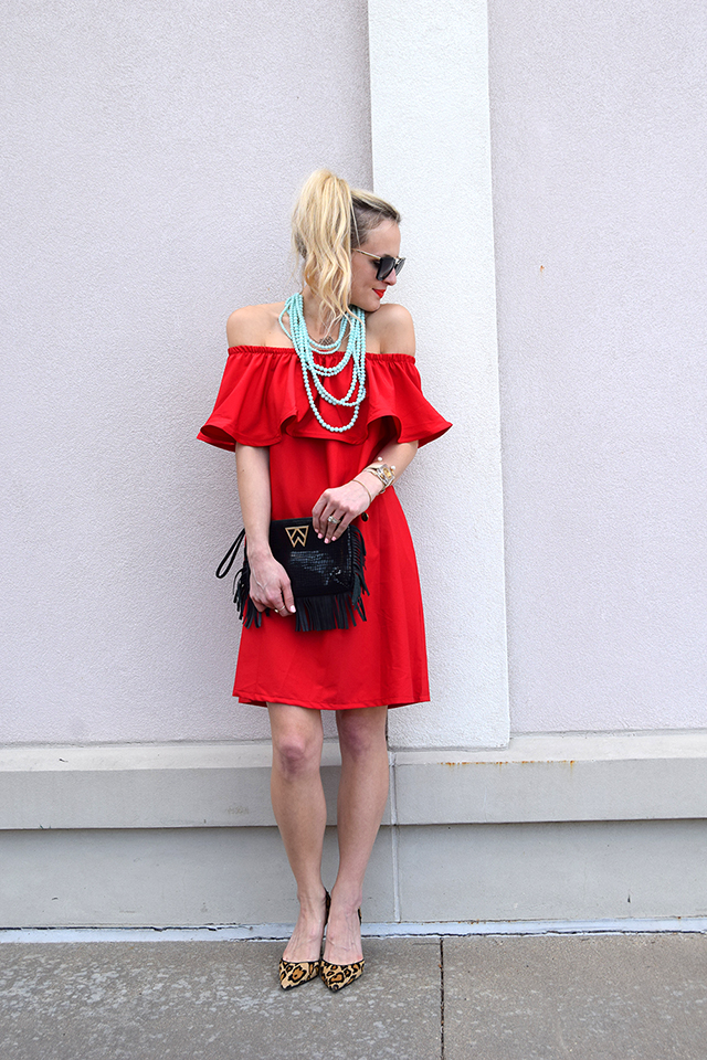 013782bdfda4 RUFFLE OFF SHOULDER RED DRESS
