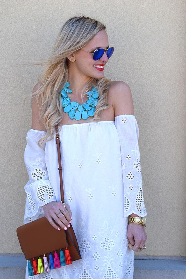 5639a091aed4 dallas fashion blogger white off shoulder dress rebecca minkoff sophia  clutch colorful tassel clutch turquoise statement necklace ...
