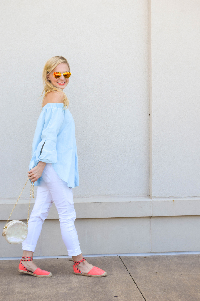 blue off the shoulder tunic
