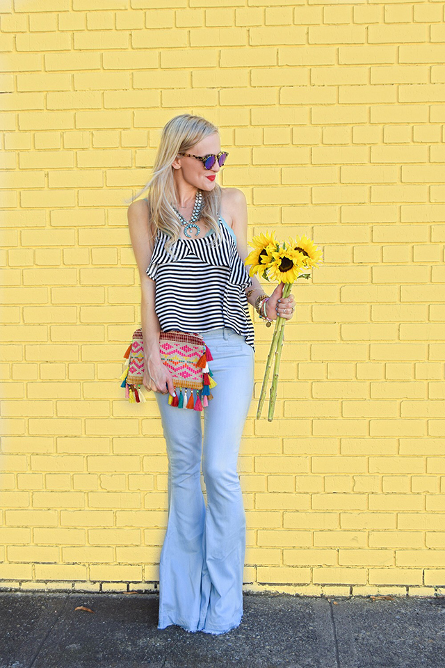 vandi-fair-blog-lauren-vandiver-dallas-texas-southern-fashion-blogger-blank-nyc-frayed-belle-yeah-belle-bottom-jeans-striped-ruffled-tank-top-baublebar-capri-amulet-necklace-2