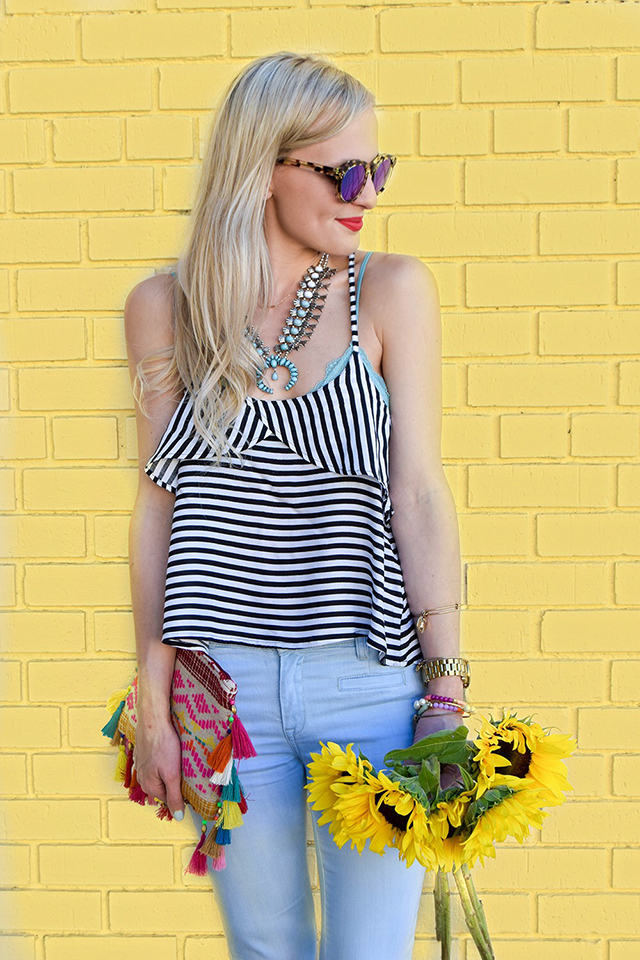 vandi-fair-blog-lauren-vandiver-dallas-texas-southern-fashion-blogger-blank-nyc-frayed-belle-yeah-belle-bottom-jeans-striped-ruffled-tank-top-baublebar-capri-amulet-necklace