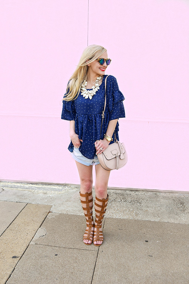 vandi-fair-blog-lauren-vandiver-dallas-texas-southern-fashion-blogger-goodnight-macaroon-lucille-blue-dotted-layered-sleeve-ruffle-top-vince-camuto-gladiator-sandals-amuse-society-cutoff-shorts-1