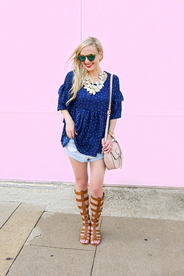 vandi-fair-blog-lauren-vandiver-dallas-texas-southern-fashion-blogger-goodnight-macaroon-lucille-blue-dotted-layered-sleeve-ruffle-top-vince-camuto-gladiator-sandals-amuse-society-cutoff-shorts-3