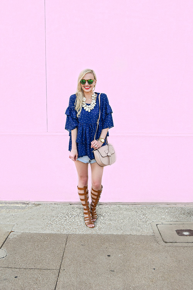 vandi-fair-blog-lauren-vandiver-dallas-texas-southern-fashion-blogger-goodnight-macaroon-lucille-blue-dotted-layered-sleeve-ruffle-top-vince-camuto-gladiator-sandals-amuse-society-cutoff-shorts-4