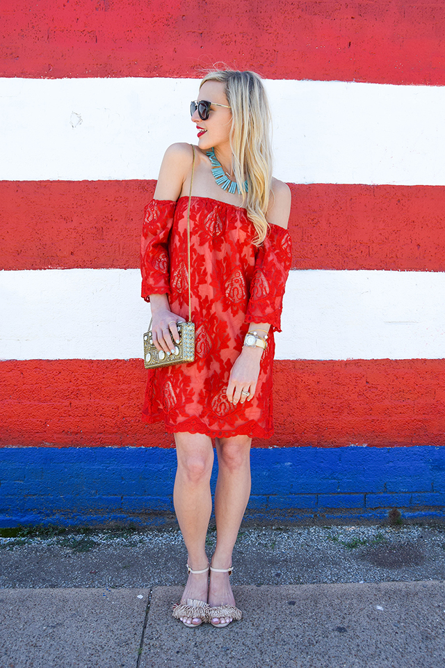 vandi-fair-blog-lauren-vandiver-dallas-texas-southern-fashion-blogger-red-lace-off-the-shoulder-dress-storee-baublebar-pharaoh-turquoise-bib-necklace-prada-retro-cat-eye-sunglasses-nude-fringe-sandals