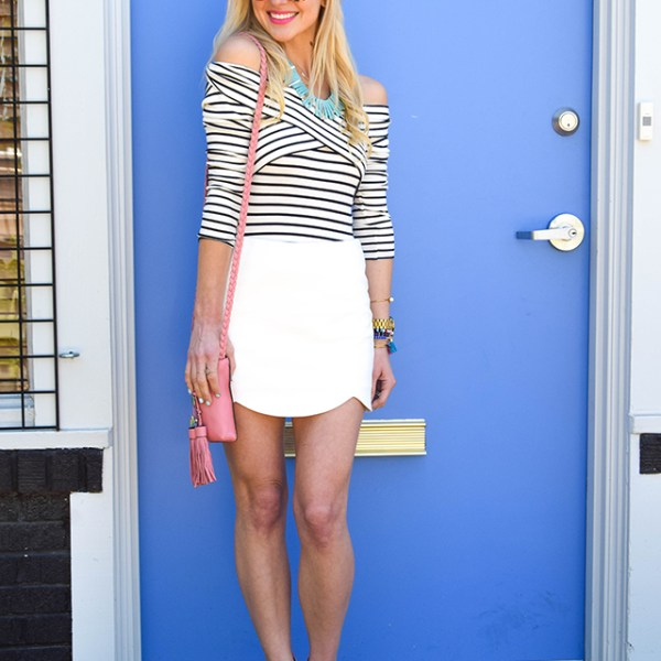 white scallop mini skirt