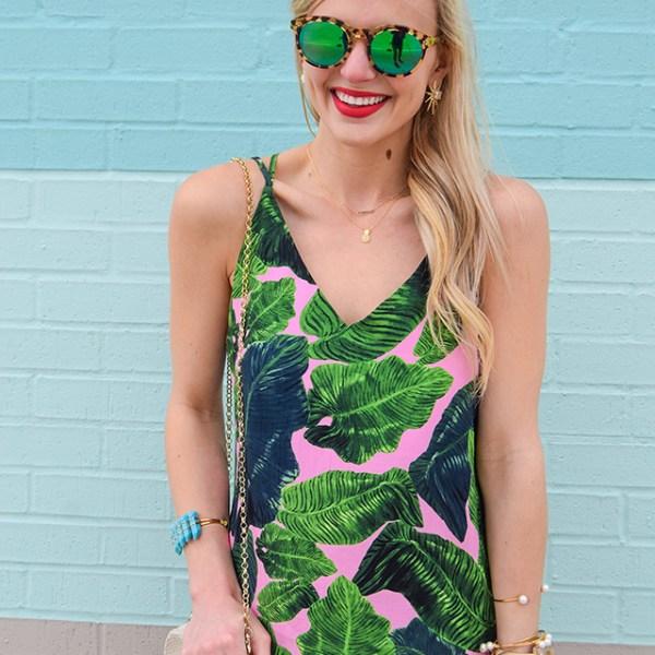 vandi-fair-blog-lauren-vandiver-dallas-texas-southern-fashion-blogger-nordstrom-topshop-palm-print-cross-back-dress-slipdress-pink-green-kendra-scott-sayers-pearl-earrings-5