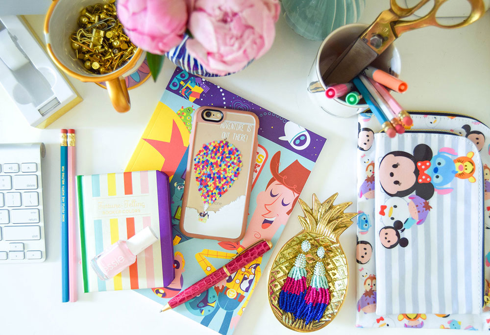 vandi-fair-blog-lauren-vandiver-dallas-texas-southern-fashion-blogger-disney-desk-style-home-office-decor-interiors-colorful-up-casetify-phone-case-tsum-tsum-pencil-bag
