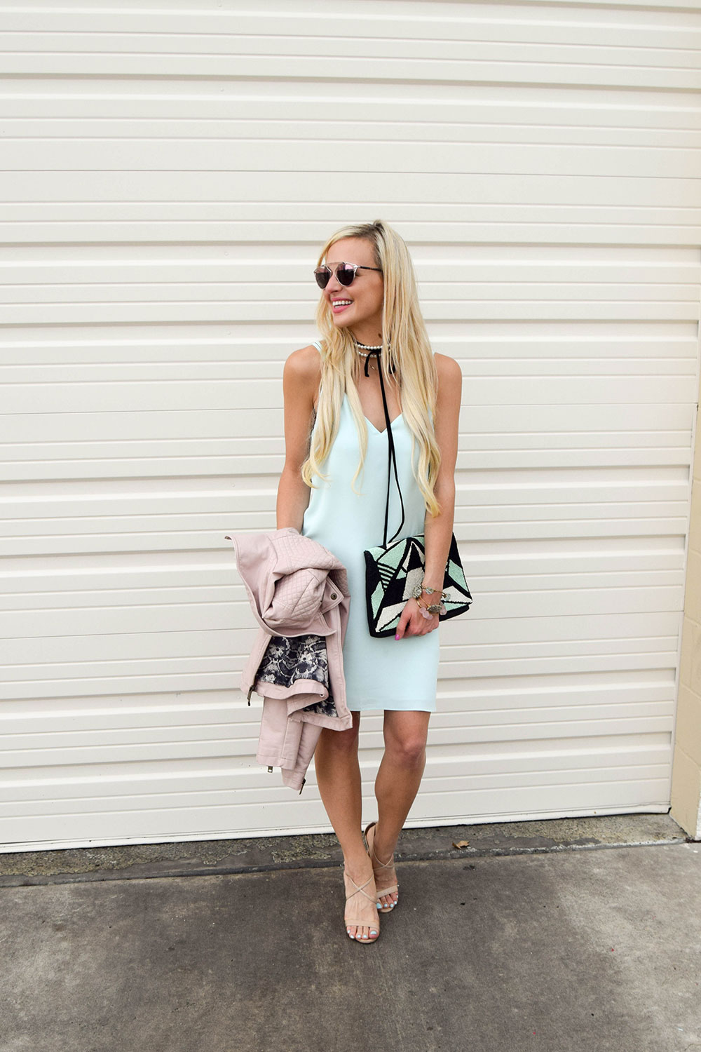 vandi-fair-dallas-fashion-blog-lauren-vandiver-southern-texas-blogger-topshop-crisscross-strap-slip-dress-mint-green-pearl-black-leather-choker-7