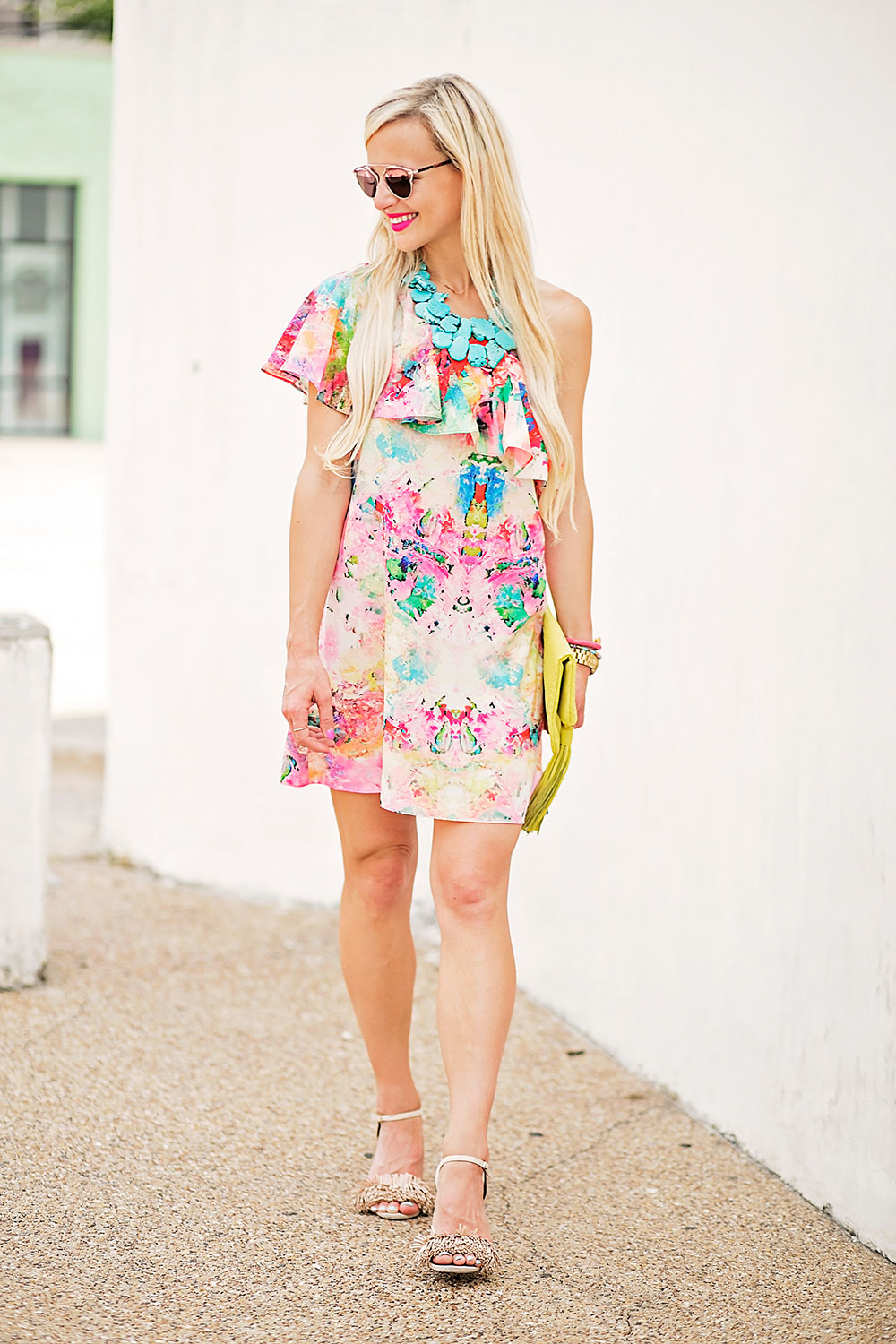 vandi-fair-blog-lauren-vandiver-dallas-texas-southern-fashion-blogger-nordstrom-amanda-a-zoe-floral-print-one-shoulder-dress-gigi-new-york-stella-fold-over-clutch