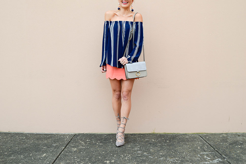 vandi-fair-blog-lauren-vandiver-dallas-texas-southern-fashion-blogger-shop-tristin-clothing-online-boutique-local-navy-nautical-striped-off-the-shoulder-top-coral-scallop-skirt-fall-outfit-2