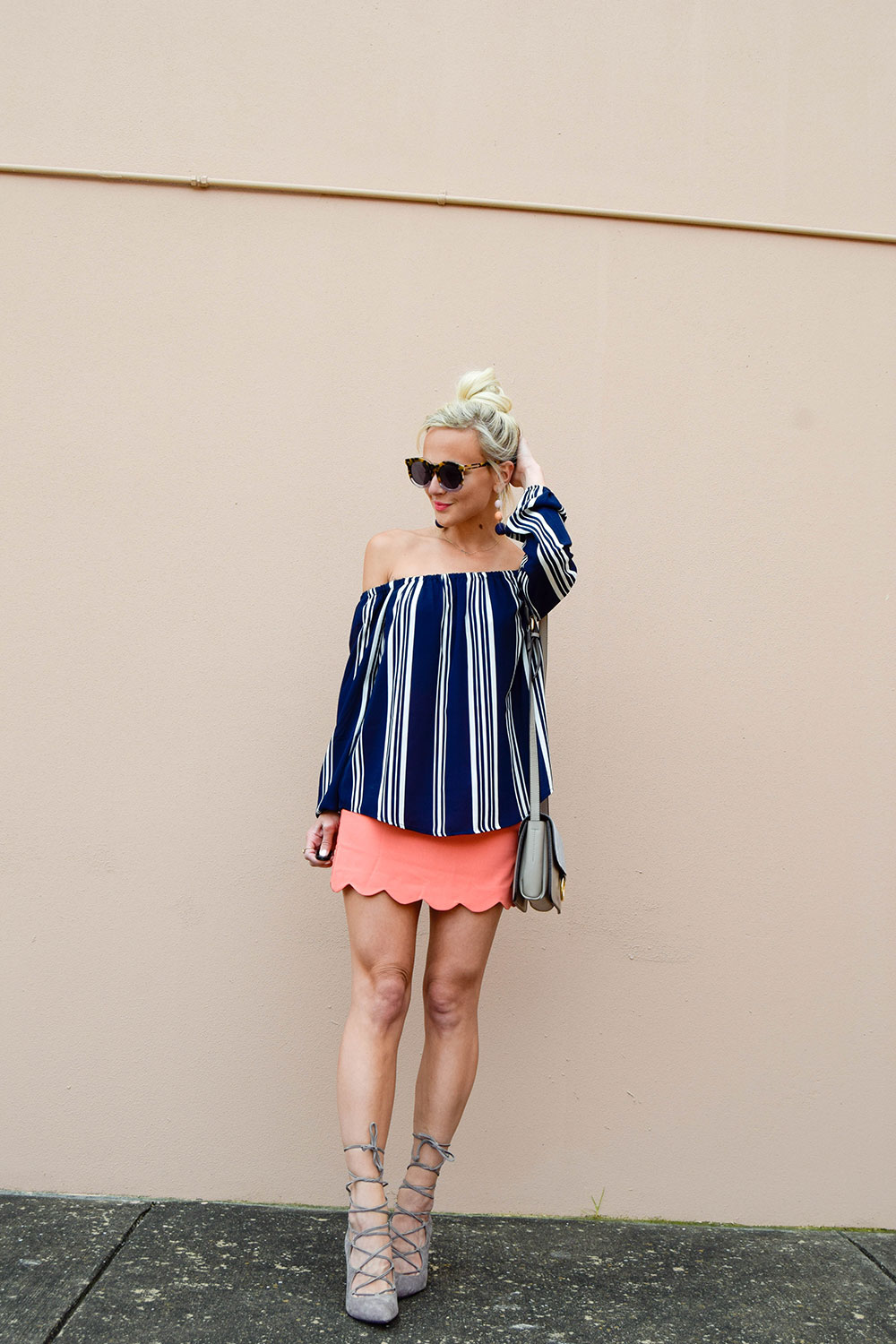 vandi-fair-blog-lauren-vandiver-dallas-texas-southern-fashion-blogger-shop-tristin-clothing-online-boutique-local-navy-nautical-striped-off-the-shoulder-top-coral-scallop-skirt-fall-outfit-4
