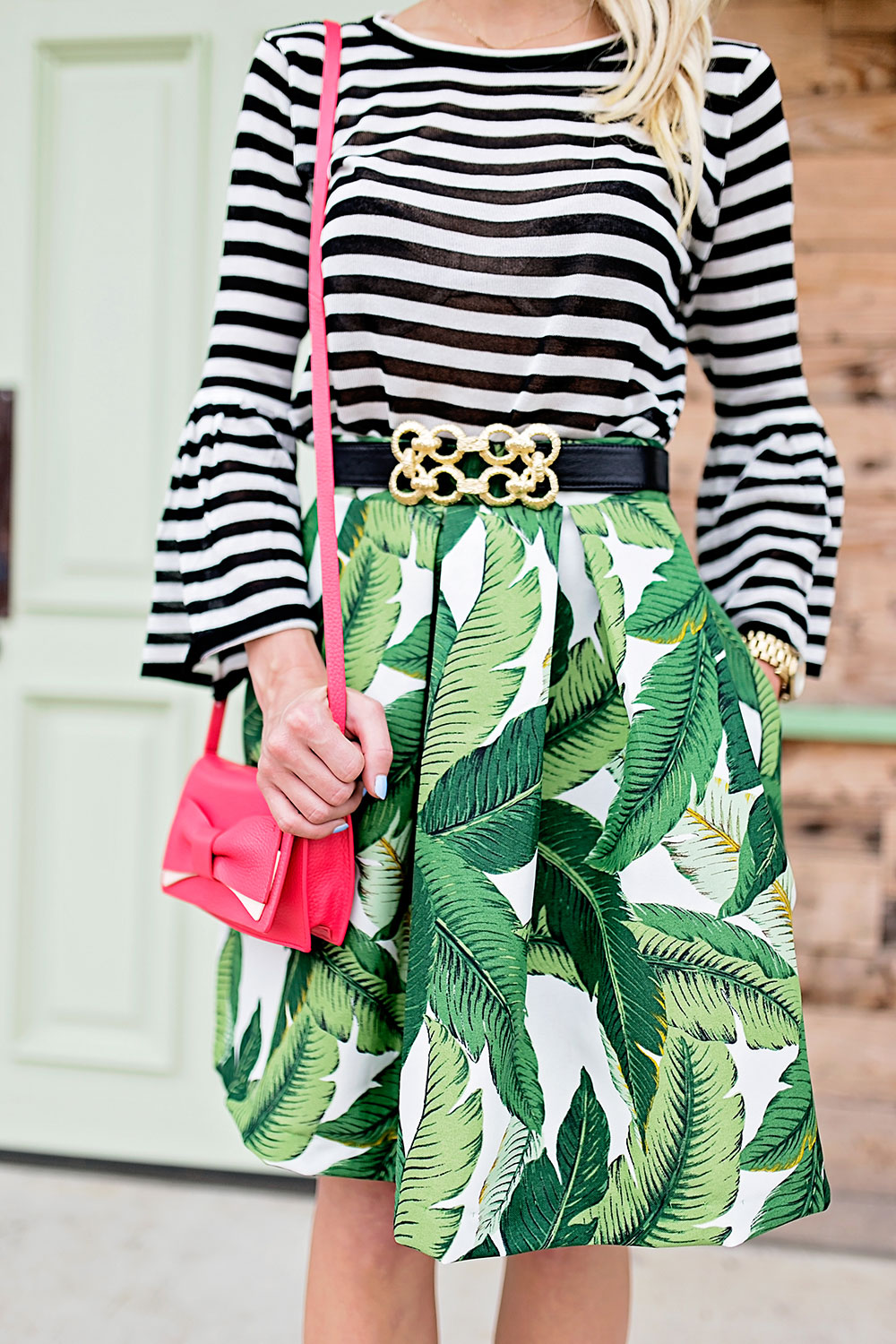 palm-midi-skirt-striped-top-outfit