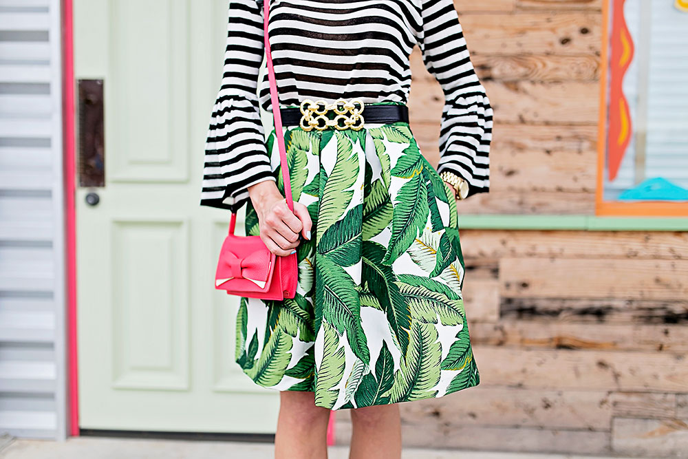 palm-print-skirt-striped-top-outfit