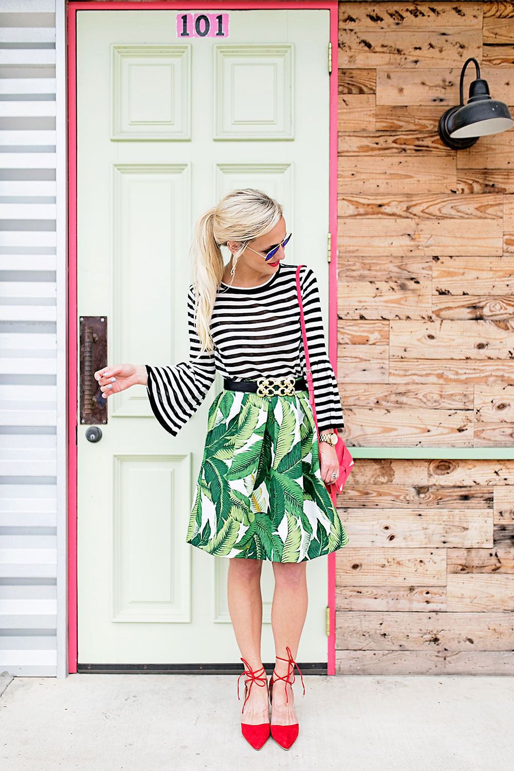 palm-skirt-striped-top-outfit