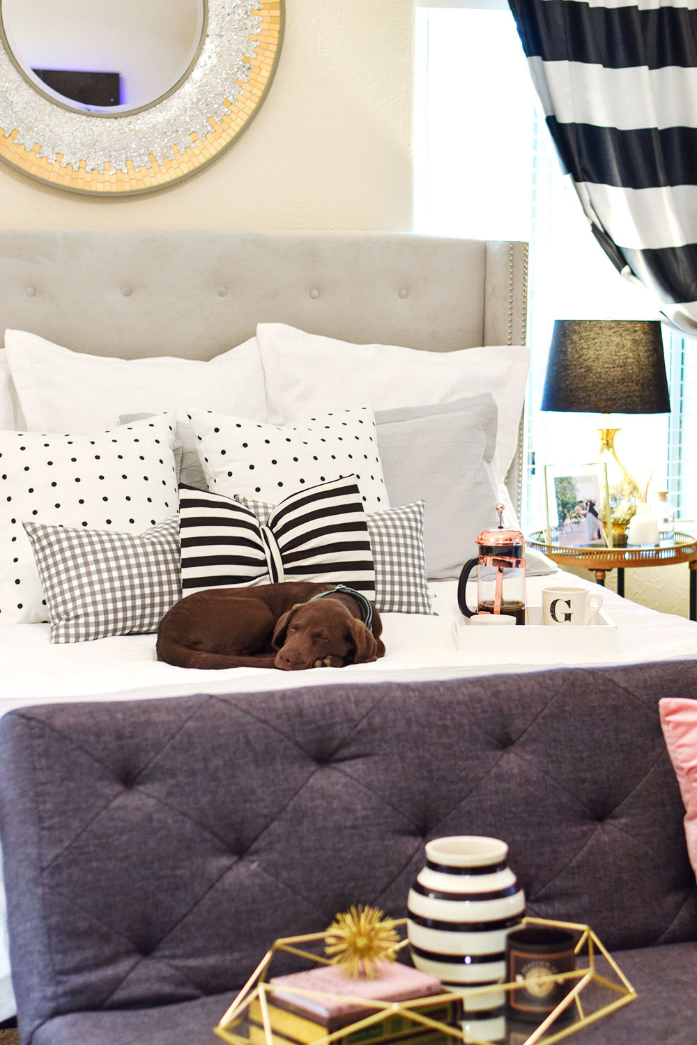 gingham and stripe black white and grey bedroom