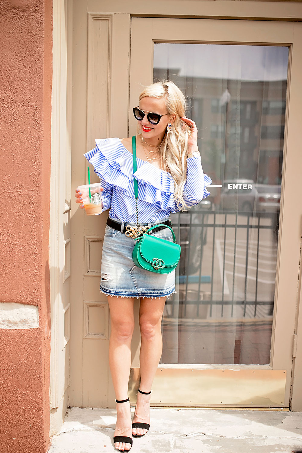ruffled-one-shoulder-blue-top