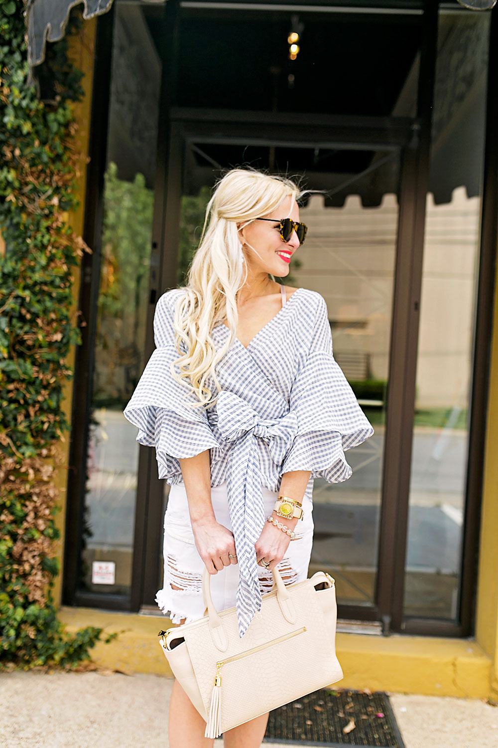 tiered-fluted-sleeves-gingham-top