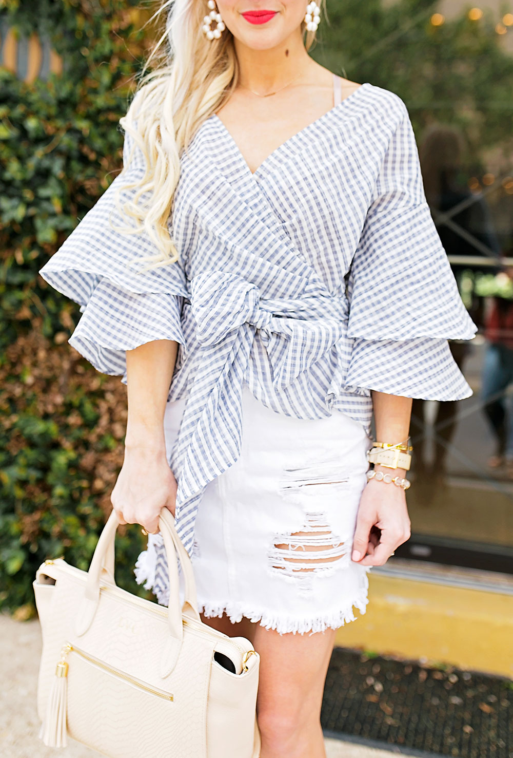 tiered-ruffle-sleeve-blue-gingham-top