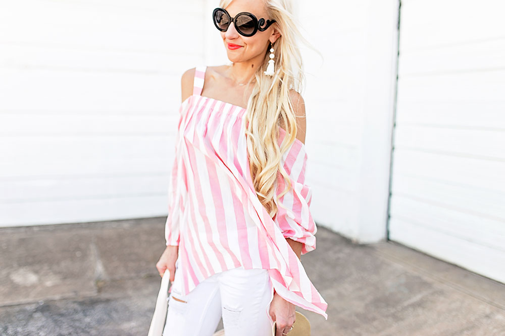 b4eb7e23e434 ... pink-and-white-striped-cold-shoulder-top ...
