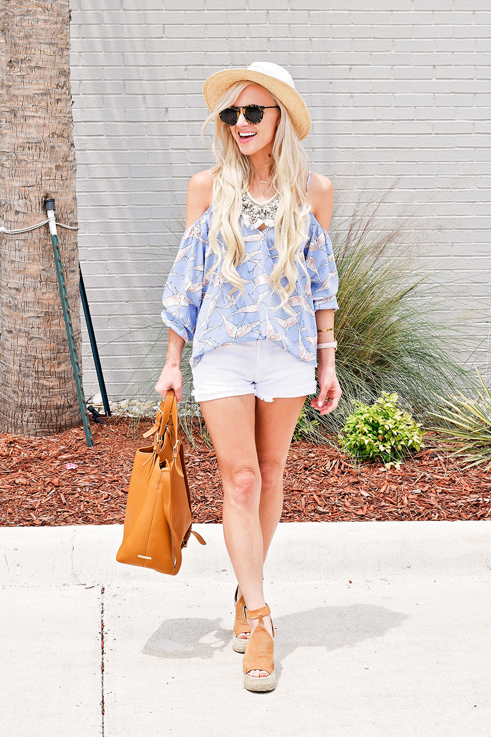 cold-shoulder-top-and-denim-shorts-outfit