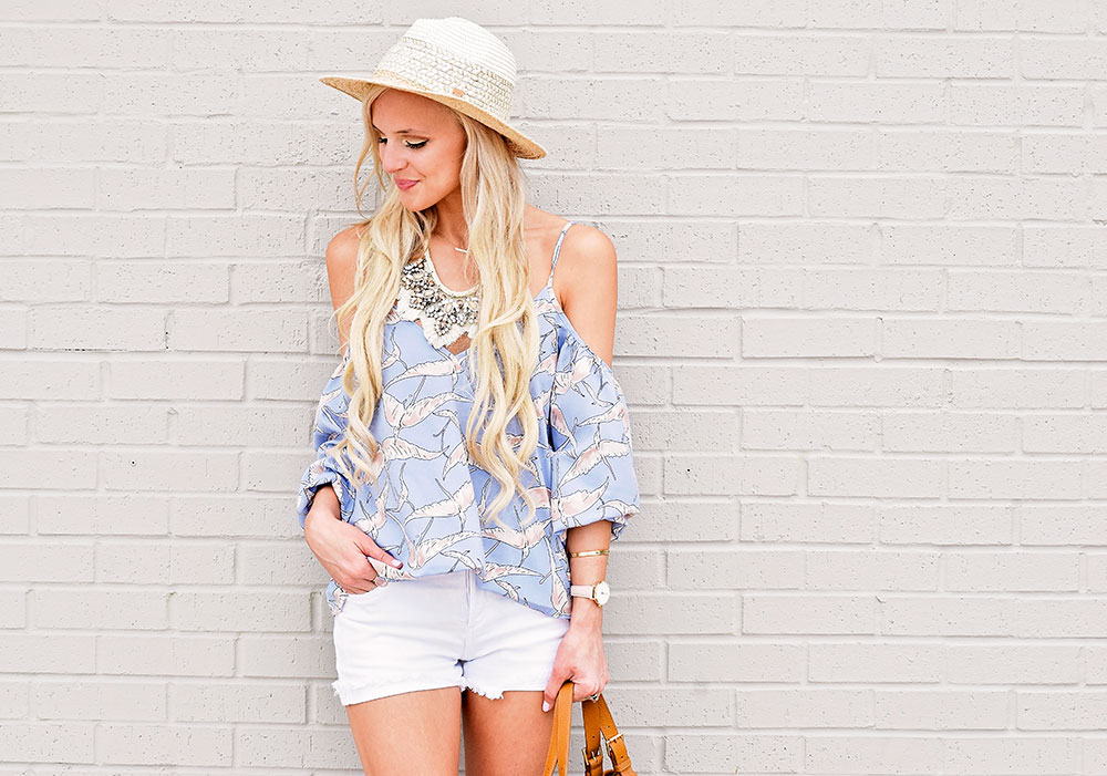 cold-shoulder-top-with-crossover-front-and-shorts-outfit